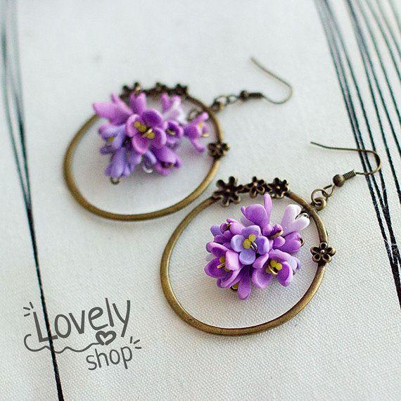 LILAC FLOWER earrings polymer clay earrings by WowLovelyShop