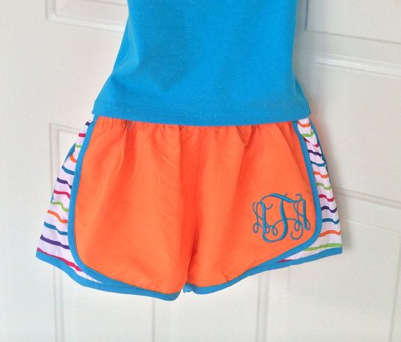 Monogram Running Shorts Athletic Shorts MORTS von PoshPrincessBows1