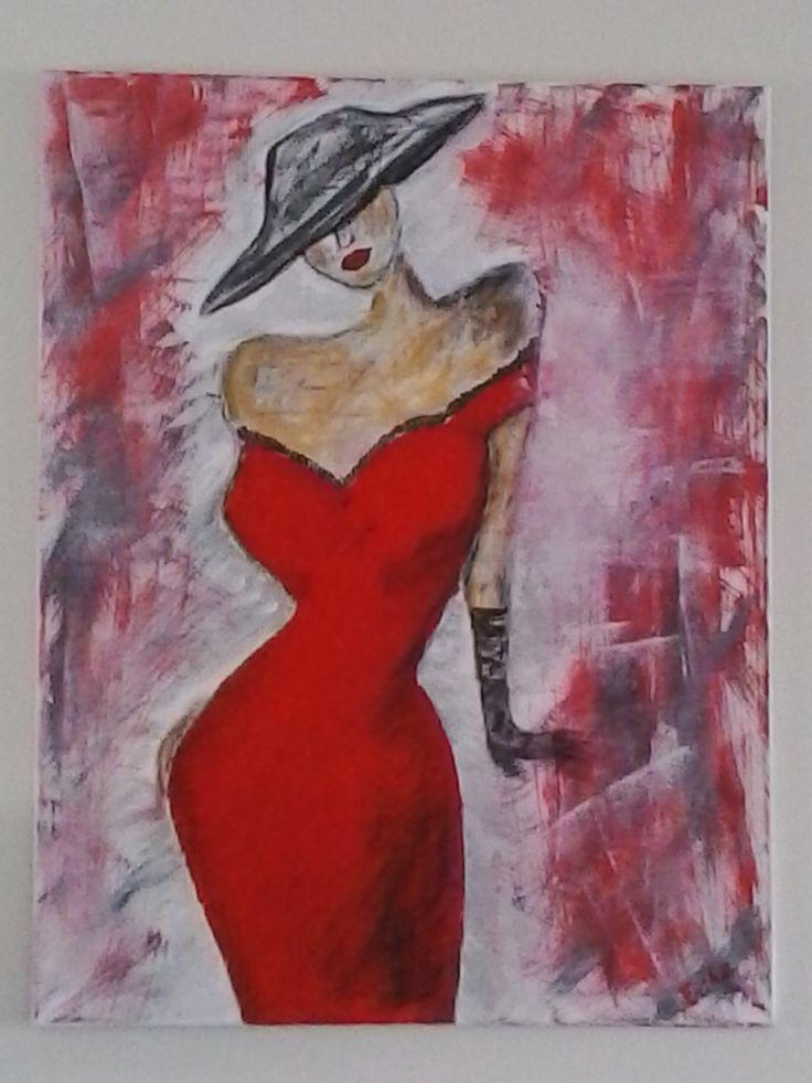 La Robe Rouge  Tableau unique format 90x70cm  année: 2015 Technique: Peinture à l'acrylique, graphite et crème de patine La toile est montée sur châssis bois et protégée par un vernis afin de donner une très bonne longévité.