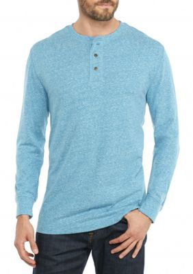 Saddlebred Teal Snow Long Sleeve Solid Sueded Henley Shirt
