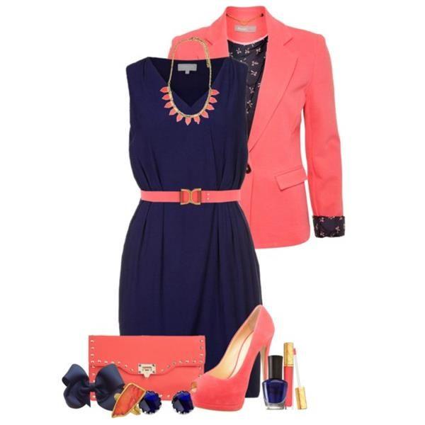 Розовый пиджак коралловое платье фото