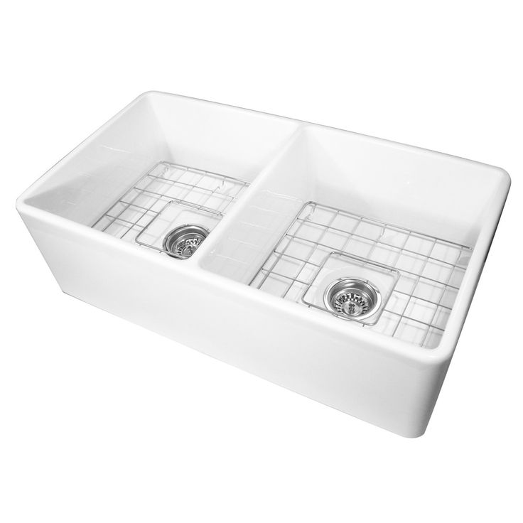 """Nantucket Sinks Farmhouse 33"""" x 18"""" Double Bowl Kitchen Sink with Grids"""