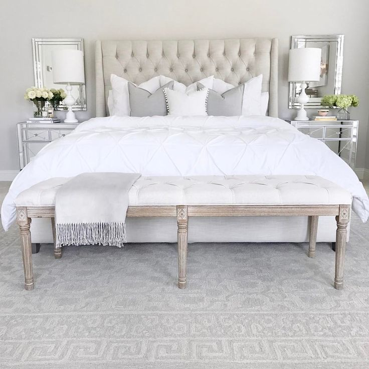 Tufted linen bed, classic gray Benjamin Moore walls, mirrored nightstand, white table lamp, tufted linen bench, white bedding and pillows, crystal table lamp, diptyque candle, Anthropologie candle, bedroom inspo, bedroom decor, pottery barn Barrett rug in gray  (@thedecordiet) on Instagram: