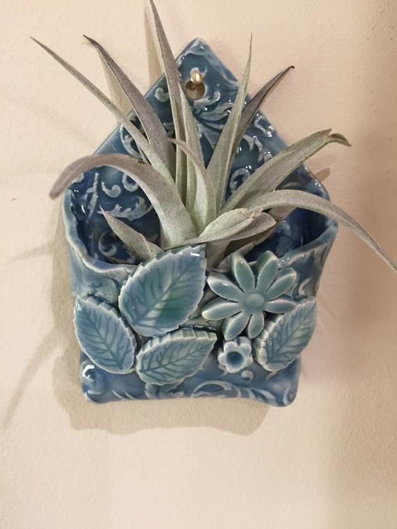 Blaue florale Wandtasche Keramik Wandtasche Kerami…