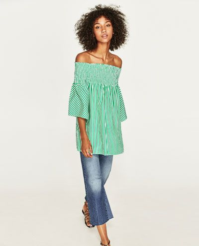 OFF-THE-SHOULDER POPLIN BLOUSE from Zara