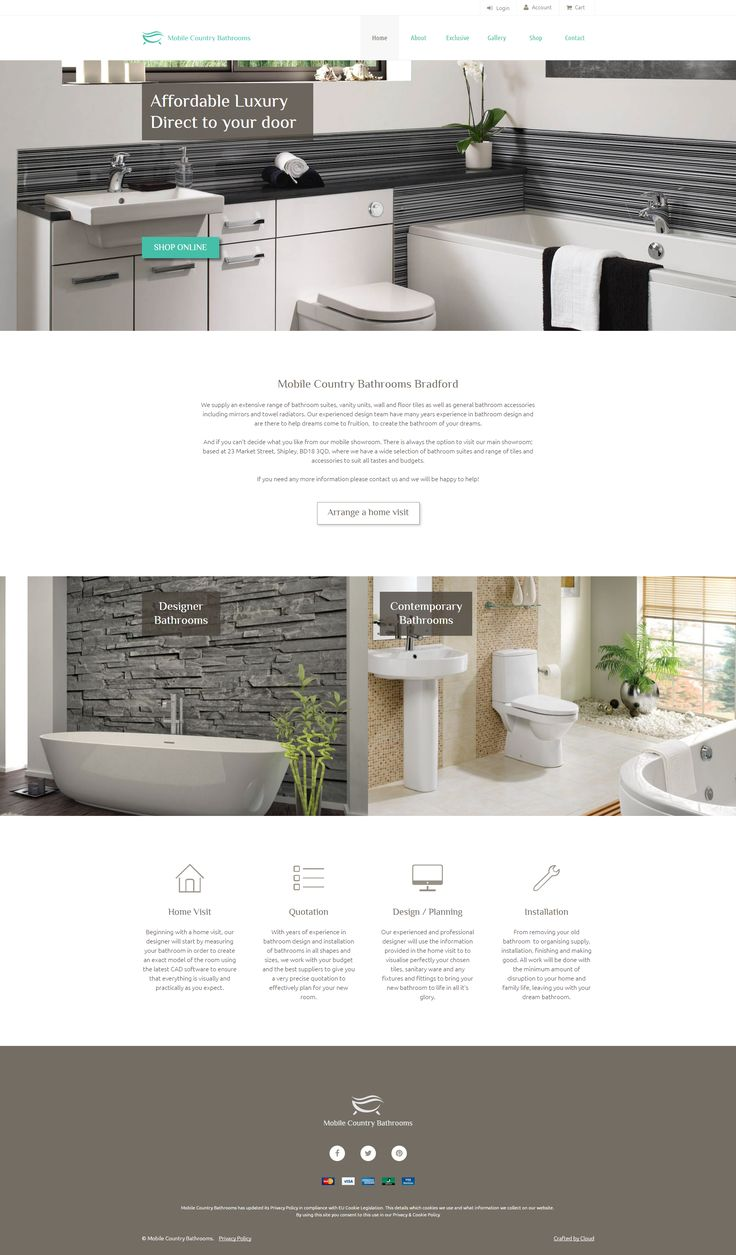 Website design for Mobile Country Bathrooms Bradford.  Fully responsive website with shopping cart (coming soon)