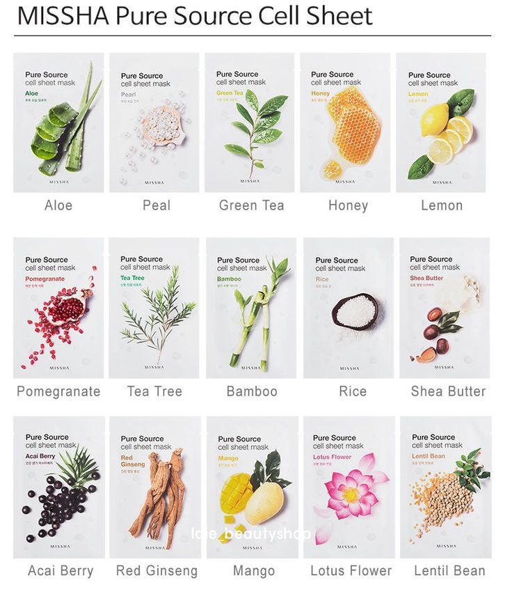 [Missha] Pure Source Cell Sheet Mask 8pcs Korean Moist Essence Facial Pack *New* #Missha