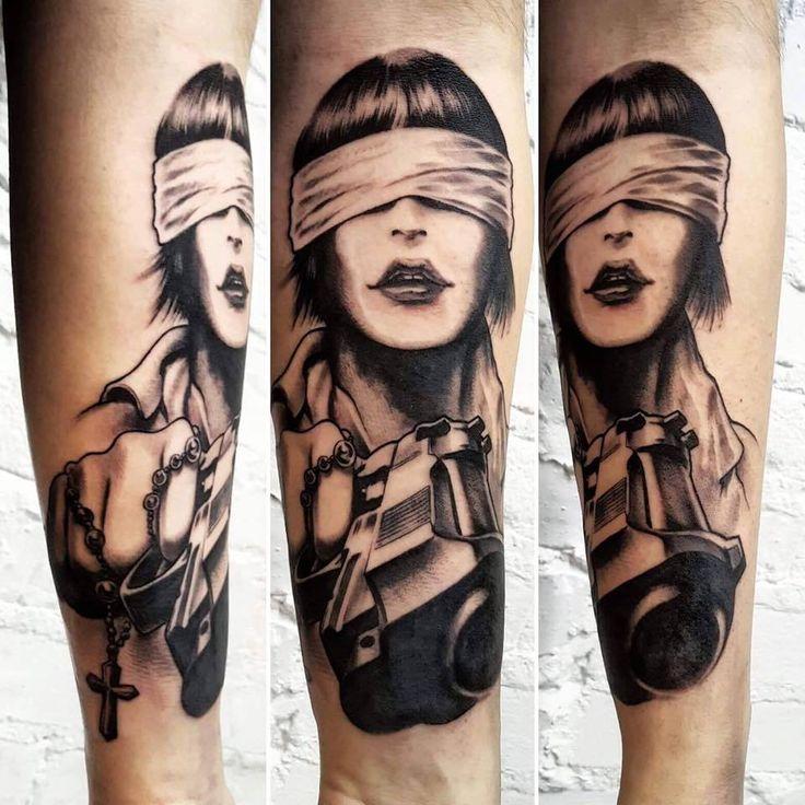 gun, woman tattoo, 77ink