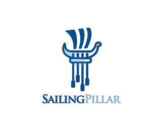 Sailing Pillar Logo design - Logo design of a stone pillar shaped like a Greek boat with paddles and a sail.  Price $330.00