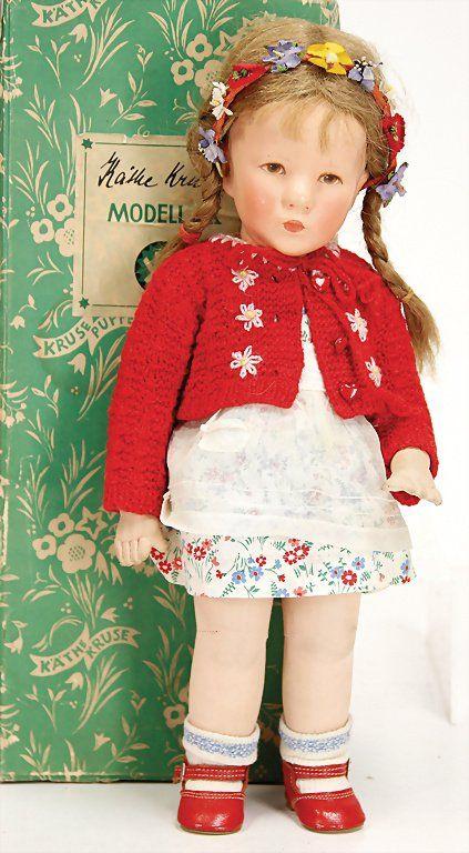 KÄTHE KRUSE doll No. 1X, girl, 36 cm, fabric head.