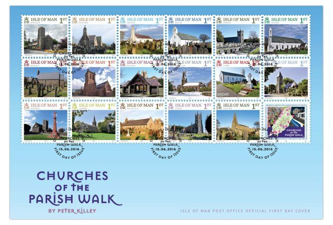 IOM stamps celebrating Churches of The Parish Walk