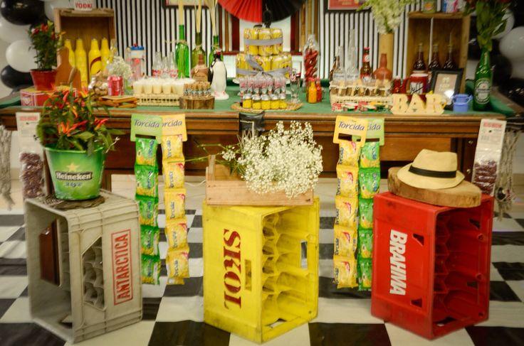 decoracao niver boteco:Festa boteco ideia bar mesa caixas caixotes