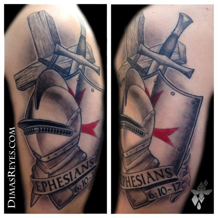 Black and Grey Armor of God tattoo by Dimas Reyes -  This tattoo depicts some of the elements of the armor of God described in Ephesians 6. I love t
