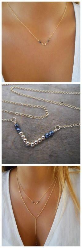 A gorgeous modern V shaped pendant necklace