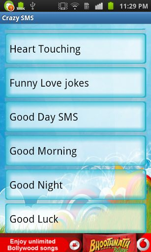 All SMS and Jokes on Android application for you. <br>Send unlimited SMS.<br>Largest Collection of SMS on Android application for you to text message from your cellphone.<br>SMS/Jokes Categories:<br>* Adult jokes<br>* Anniversary Quotes/SMS<br>* Birthday