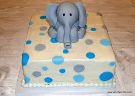 Baby Shower Cakes  Elephant With Blue And Grey Polka Dots  1