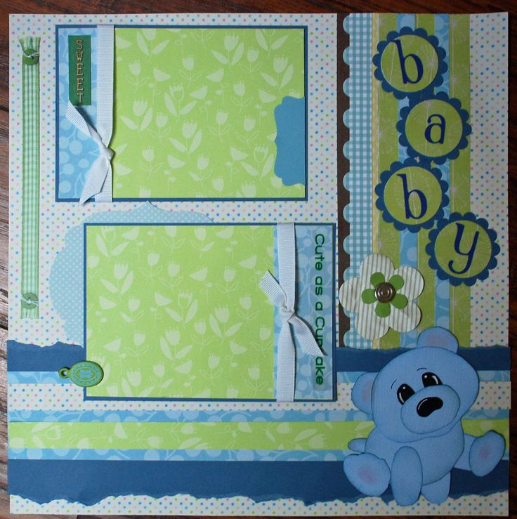 BABY BOY Cute as a Cupcake SweeT BabY premade scrapbook page. $8.50, via Etsy.
