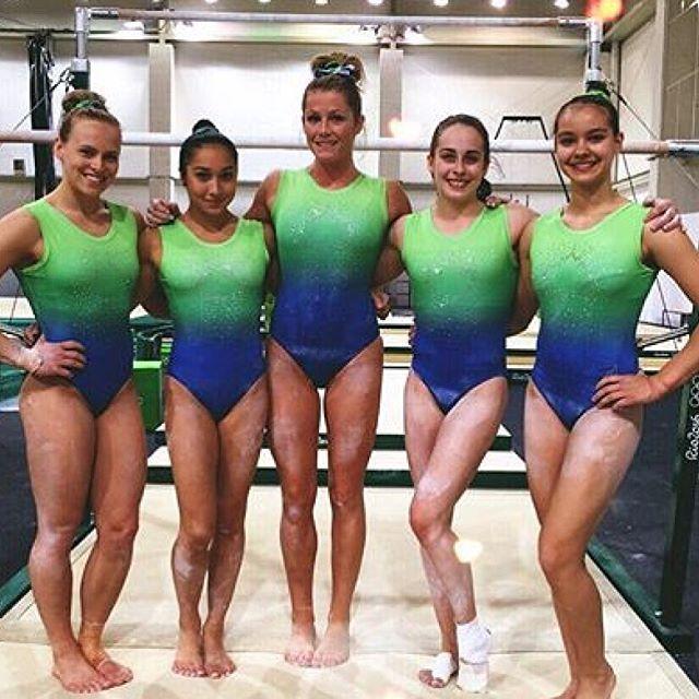 So pretty & rather fitting for an Olympics in Brazil 😍💙💚 I really love them so much!! #ellieblack @ellieblack_ #rosewoo @gymrose1 #britannyrogers @brittyrogers #isabelaonyshko @isabela_onyshko #shallonolsen @shallon_olsen #gymnastics #leotard #rio2016