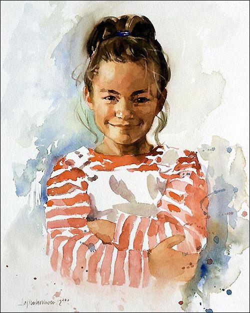 Watercolor Portrait by Ben Lustenhouwer, a talented portrait painter from Spain.