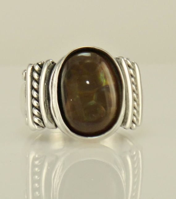 R1085 Sterling Silver Fire Agate Ring One of a Kind