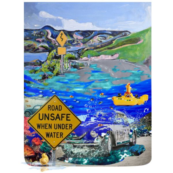 Road unsafe when under water by annacullart on Polyvore *** having a bit of fun with one of my paintings