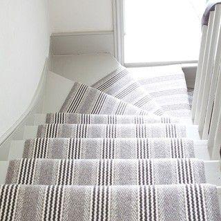 Sudbury light gray striped wool runner by roger oates