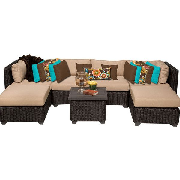 Rustico 7 Piece Outdoor Wicker Patio Furniture Set 07a 2 For 1 Cover Set    Tropical   Outdoor Lounge Sets   By Design Furnishings Found On Polyvore ...