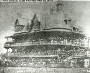 Crowd at the Jockey Club in Fairgrounds Park watching the St. Louis Derby in 1896. Missouri History Museum