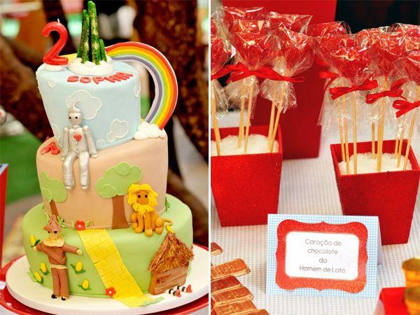Somewhere over the rainbow...Dorothy, o homem de lata, o leão covarde e o espantalho fizeram o aniversário de 2 anos da Sophia! Os docinhos decorados da Ni