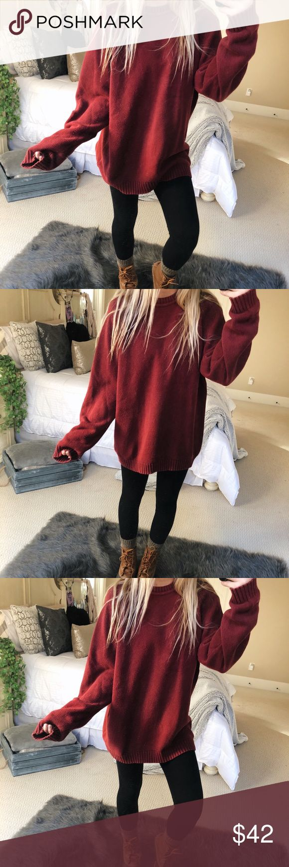 cozy burgundy knit sweater gorgeous cozy burgundy knitted sweater. super chunky and cute! fits a size medium or large 🍂🥀 — * all offers 100% welcomed + encouraged * bundle for a private discount of at least 20% off  * orders guaranteed to ship within 1-2 days unless stated otherwise * ask me any questions if you ever have any! xo Sweaters