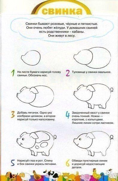 Уроки рисования карандашом для детей. Животные
