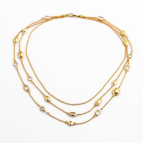 We love the layered gold chain sequence this necklace has. It can make any outfit stand out instantly. It's fun appeal makes it an enviable piece that has to be a part in your wardrobe.