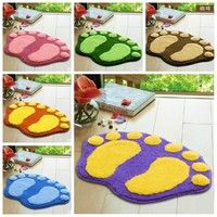 Wish | Cute Footprints big feet Bathroom carpet Flocking Water Absorption Door Mats Pad Rug Household item at the door mat carpet floor