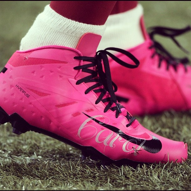 I wear pink Nike cleats to honor my mother Carol, who lost her courageous battle with breast cancer in 2003.