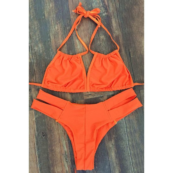 Lace-Up Orange Bikini Set (185 BAM) ❤ liked on Polyvore featuring swimwear, bikinis, orange bikini, bikini swimwear, lace up swimwear, bikini beachwear and orange bikini swimwear