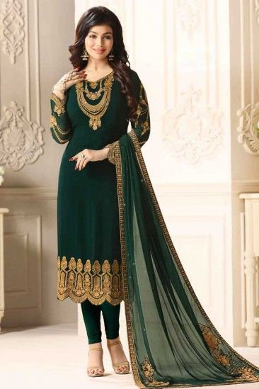 013877f886 #Raya #Dresses 2018 - Lovely Dark Green Georgette #Churidar Suit With  Resham Work - DMV12558