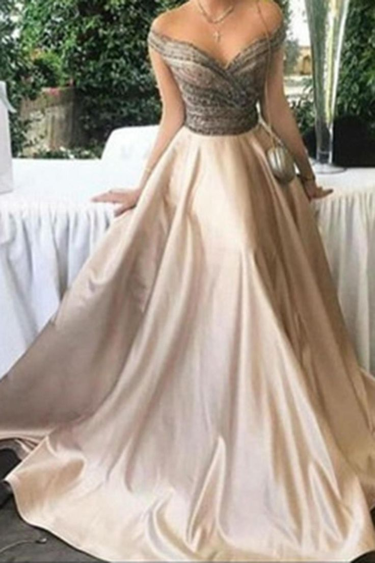 Elegant A-Line Evening Dress,Off-Shoulder Prom Dress,Long Satin Prom Dress,Ball Gown Formal Dress,Plus Size Prom Gown,Sweetheart Beading Bridal Dress,Prom Dresses,ST456