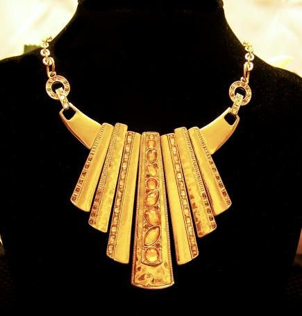 Bold Gold Bib Style Necklace With Champagne Stone by Enchanted4You, $28.00