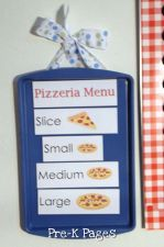 Use a cheap dollar store cookie tray as a menu board in the dramatic play center via www.pre-kpages.com