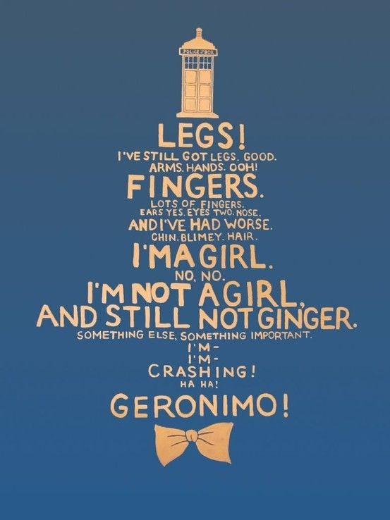 Doctor Who quote (regeneration from Ten to Eleven) ... someday, we will have a Doctor who is a ginger!