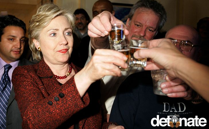 """Could we actually be seeing some fear in the eyes of the first woman who has a decent chance of becoming the most powerful man on Earth? SHE LOOKS LIKE SHE IS ALREADY DRUNK!  LOOK HER EYES ARE CROSSED!  OH WAIT, MAYBE THAT IS JUST HER """"BRAIN ISSUES""""!"""