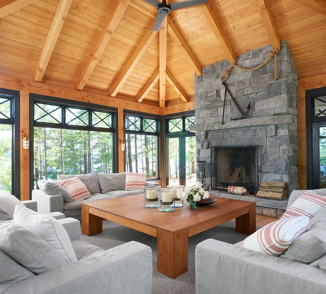 129 best sunroom images on pinterest balconies decks for Sunroom with fireplace designs