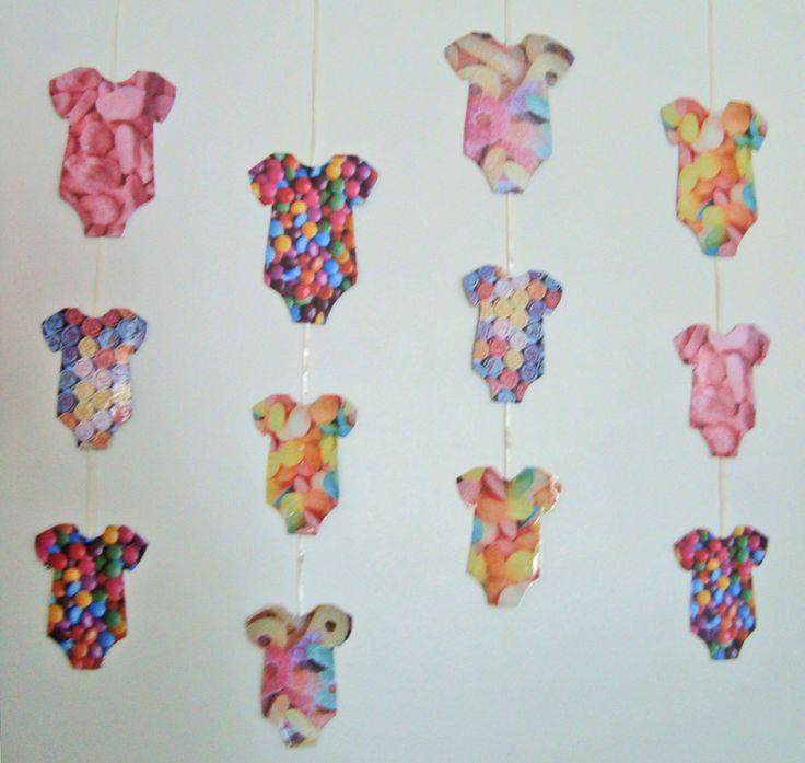 Guirnalda De Baby Shower Con Figuras De Papel Estampado | Manualidades Para  Baby Shower