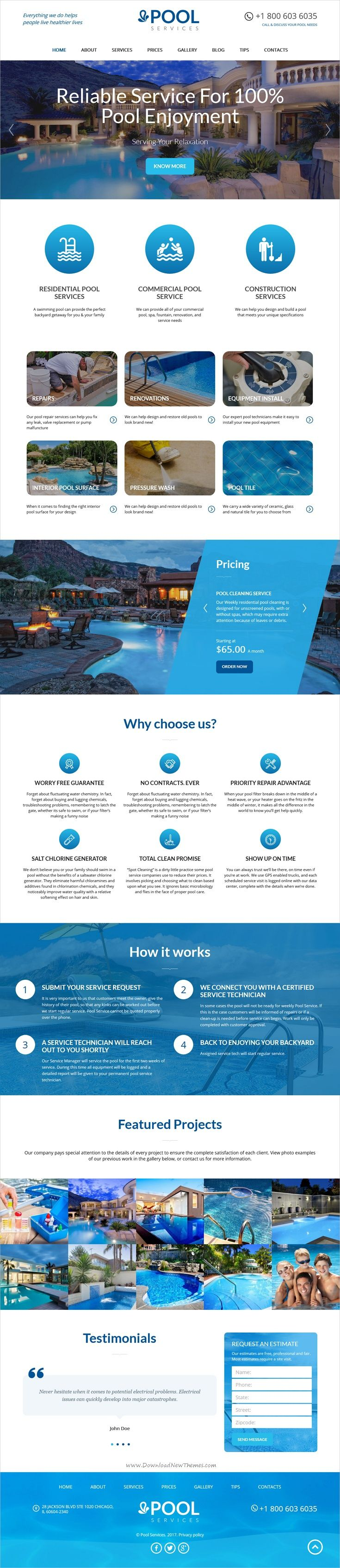 Pool Service is a modern, clean and professional #WordPress theme for #pool cleaning #services business website download now➩ https://themeforest.net/item/pool-services-wordpress-theme/19213092?ref=Datasata