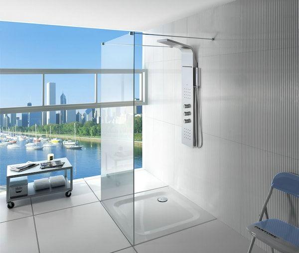 Columnas de ducha con jets. Spa en casa. Baños con vistas.