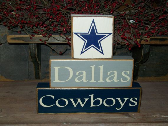 R U Ready for some Football.. New Primitive Wood Sign Blocks Football Season Man Cave Sports Fan Dallas Cowboys Atlanta Falcons Texans. $21.99, via Etsy.