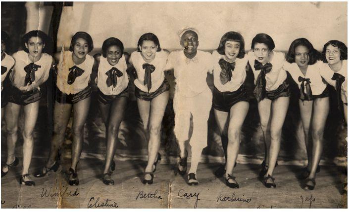 """lascasartoris:  """"Bertye Lou Wood in her 1st professional dance job in 1928, poses to the left of dance director Addison Cary."""" Bertye Lou wa..."""