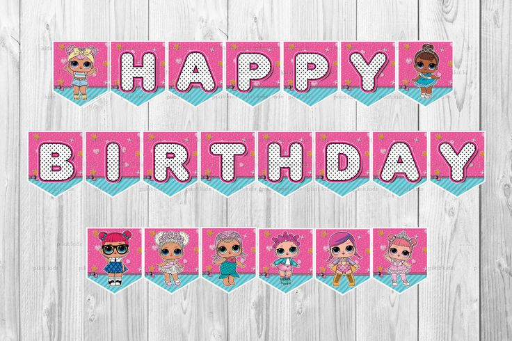 LOL SURPRISE DOLL BANNER BUNTING FLAG PARTY SUPPLIES LOLLY LOOT BAGS TOPPERS in … – Sienna's 7th Birthday