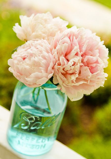 I love this! mason jars as vases. And the pink and the blue is awesome