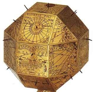 Brass polyhedral sundial from 1578 approximates shape of the Alouette satellite, 1962,